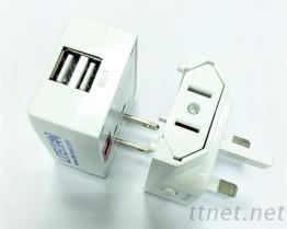 旅行用万用插头含USB*2 PL-001