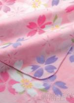 櫻花印花雙刷毛毯