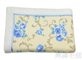 氣質藍花棉毛毯