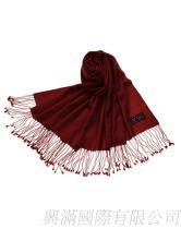 酒紅色羊毛圍巾