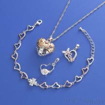 鋯石手鍊項鍊耳環飾品組
