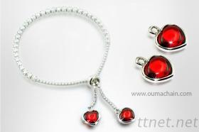 简单经典925纯银宝石手链