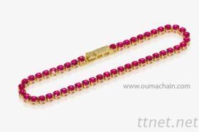 B151305G 925纯银黄金红宝石手链