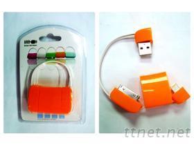 USB A 公 & I-PHONE傳輸線 橘色
