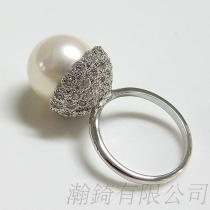 鑽面珠盤珍珠戒指