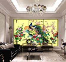 酒店大堂立体漆画屏风