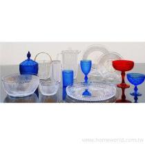 鑽石沙拉組, 盤, 水杯, 沙拉碗, 低杯, 高杯, 水壺, 高腳杯, 盤, 冰淇淋杯, 冰淇淋碗, 冰桶