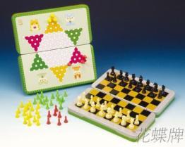 (折疊式彩色鐵盒) 磁鐵跳棋、西洋棋