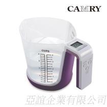 【CAMRY】多功能厨房电子秤(可做量杯)-紫色