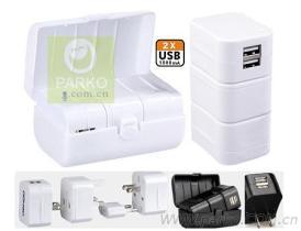 全球通組合雙USB轉換插頭三件套(USB輸出: 1A)