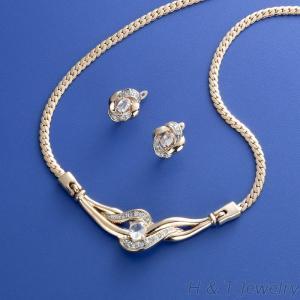 鋯石項鍊耳環飾品組