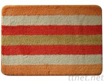 柔軟吸水防滑踏墊,家庭浴室墊.門墊PO彩條-桔色