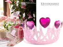 生日派對女孩粉紅糖果銀細蔥鑽飾皇冠頭飾
