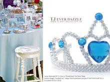 藍色系生日公主節慶公主派對公主鑽飾皇冠