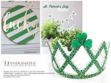 歡樂聖派翠克節日慶祝會綠色幸運草綠色蔥粉冠冕