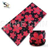 T-2141_黑底紅花布 魔術頭巾