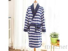 男用睡袍-珊瑚绒+条纹