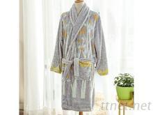 睡袍-灰色印花