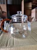 T-700高硼硅耐熱玻璃花茶壺金茶色手把凸蓋