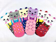 8801-3D小貓咪直板防滑襪