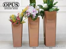 不锈钢艺术《圆角锥形花器》大型落地花瓶-钛金, 布置, 室内花瓶
