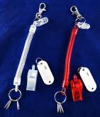伸縮彈簧口哨號碼牌鑰匙圈