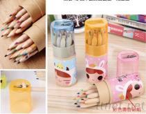 桶装12色木头广告铅笔+削笔器
