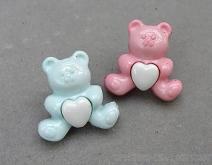 愛心小熊造型組合式立腳鈕釦