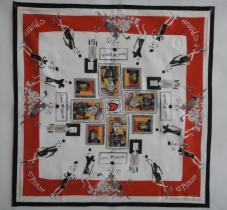 畢卡索100%棉印花彩色圍巾
