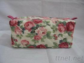 专业制造-箱/袋/包/工厂直营客制化-棉布玫瑰花化妆包