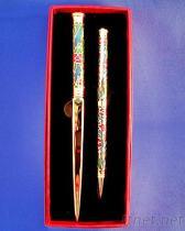 景泰蓝拆信刀与原子笔组, 景泰蓝文具礼品, 质感礼赠品, 景泰蓝文具礼品组