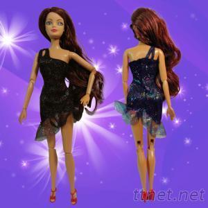 時尚芭比-黑色亮片紗斜肩小禮服