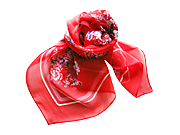 客家花布红丝巾
