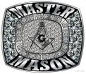 Custom Stainless Steel Silver Master Masonic Ring