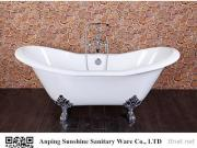 Sunshine Cast Iron Freestanding Double Slipper Clawfoot Bbath Tub