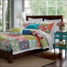 3-piece Cotton Patchwork Quilt with Front/Reverse Printing and Machine Quilting