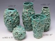 Crackled Glaze Ceramic Vases With Carved Hole