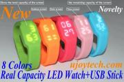 LED Watch USB Flash Drive, Christmas Gift Silicone Watch USB Stick