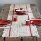 Xmas French Vintage Stripe Printed Table Runner
