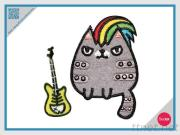 Embroidery With Rhinestone Sticker Set - Rock Cat With Fish Bone Guitar