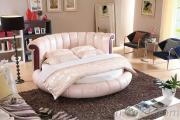 Quality Round Bed Top Grain Leather Bed Hot Sale Bedroom Furniture
