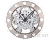 Mechanical Round Gear Wall Clock, 2D White Metal Clocks-84