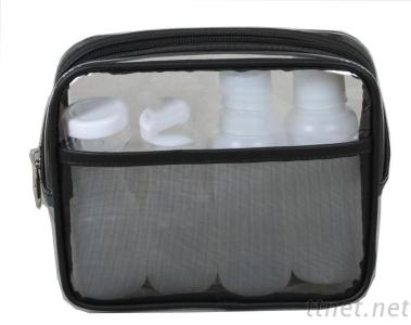 cute travel toiletry cosmetic wash bag with bottle and jars