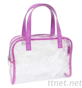 Clear Transparent Travel Packing Toiletry Cosmetic Bag with Handle