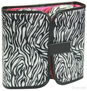 Portable Folded Travel Toiletry Makeup Cosmetic Bag with Standing Mirror