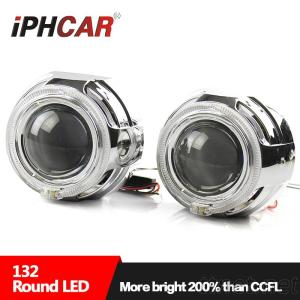 IPHCAR 3 Inch Hi/Lo Beam Hid Projector Lens With LED Light Guide Single Angel Eye And Devil Eye