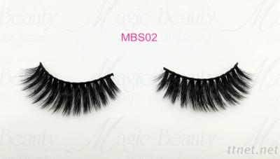 Private Label 3D Silk Individual Lashes MBS02 Black/Clear Band Available