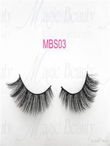 OEM Korea PBT Fiber 3D Silk Individual Lashes Mbs03 Black/Clear Band Available