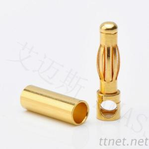 4.0Mm Banana High Current Plug And Socket, 24K Gold Connector