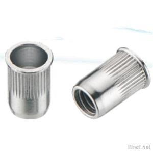 Knurled Cylindrical Threaded Insert, Reduced Countersunk Head, Open Type